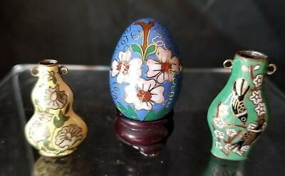 Vintage Cloisonne Small Egg and Two Vases - Mini - Stand - Brass - Excellent!
