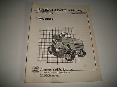 """American Yard Products """"lawn Rider"""" Tractor Illustrated Parts Manual Catalog"""