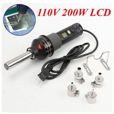 200W 450℃ LCD Electronic Heat Hot Air Gun Desoldering Soldering Station +4Nozzle