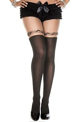 Sexy Black Opaque Faux Thigh Hi Stockings + Music Note Style Design Tights P7145