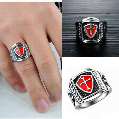 crusader Red black oil Knights Templar Rings size 7-11 cross Mens Punk