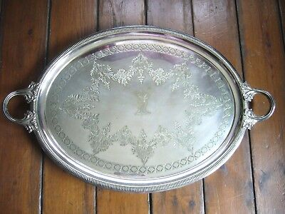 """Victorian Large Silver Plate On Brass Butlers Tray Serving Tray 27.5"""""""