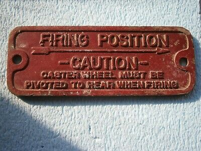 CAUTION FIRING POSITION FIREFIGHTERS YUGOSLAVIA SIGN LABEL FIREFIGHTING caster