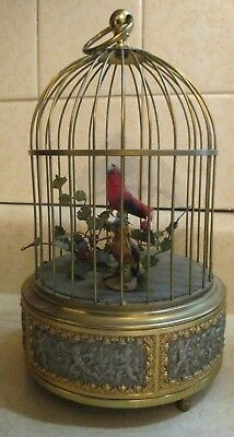 antique automaton bird cage music box Germany  Works great