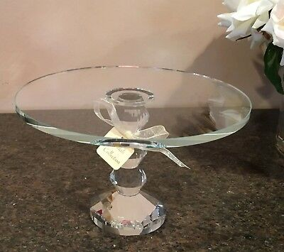"9"" Crystal Faceted Pedestal Cake Stand / Server Vidali Collection (Beautiful!)"