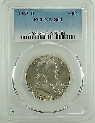 1963-D 50C Franklin Silver Half Dollar PCGS MS64 #83950884 -Nice Mint State Coin