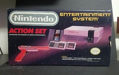 Nintendo Entertainment System Action Set Gray Console Boxed System NES