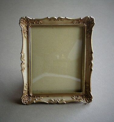 Vintage Convex Glass Ornate Gold Painted Brass Rectangular Picture Photo Frame