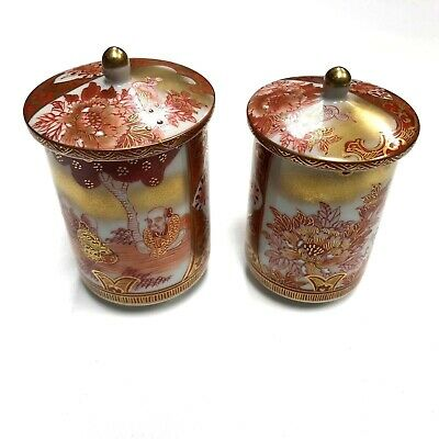 Pair of Japanese Kutani Porcelain Cup Small Covered Jars Signed