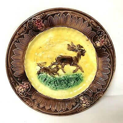 Antique Majolica Plate Decorated W/ Pointer Dog Chasing Deer