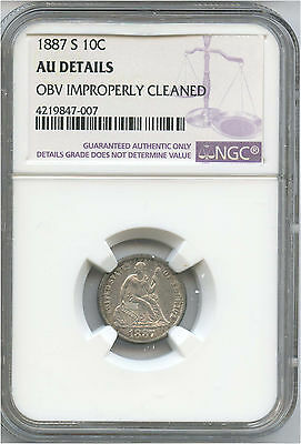 1887-S Liberty Seated Dime NGC AU Details OBV Improperly Cleaned