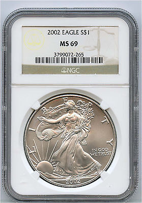 2002 $1 US American Silver Eagle NGC MS 69 Generic Picture From Our Inventory