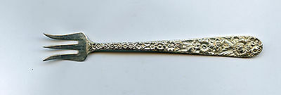 """S Kirk & Son, Repousse Sterling Silver Cocktail Fork 5 1/4"""" No Monogram"""