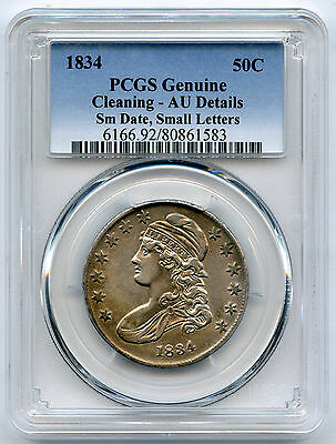 1834 Bust Half Dollar Small Date Small Letters PCGS AU Details Cleaning