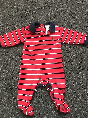 4027164b7 RALPH LAUREN BABY Boys Red Striped Footed And Collared One Piece ...