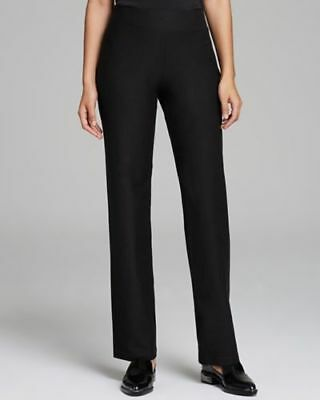Nwt Eileen Fisher Washable Stretch Crepe Yoke Black Straight Pants Size Xl