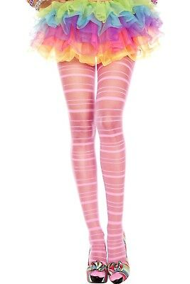 Sheer Neon Pink or Black Opaque Stripe Tights Sexy Designer Lingerie P7277