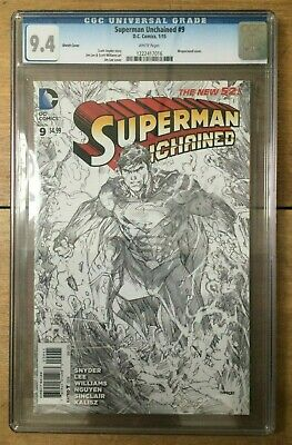 Superman Unchained #9 Jim Lee Sketch Wraparound Cover CGC 9.4