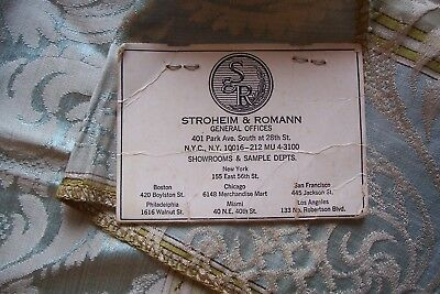 Vtg Fabric Sample Stroheim & Romann Turquoise/Gold Rayon/Silk Made in  Italy