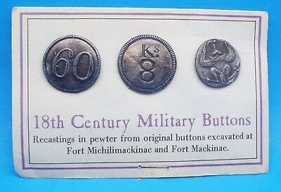 18th Century Military Buttons - Recastings in Pewter