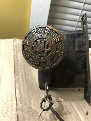 Mallory and Wheeler Co Antique Rimlock and Door Knob