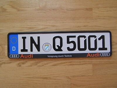German EUROPEAN license plate AUDI Q5 with seal and frame