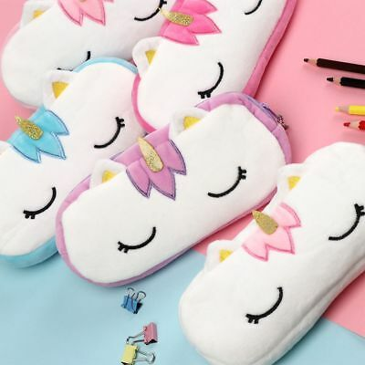 Cosmetic Stationery Makeup Pouch Plush Pencil Case Unicorn Pen Bag Coin Purse