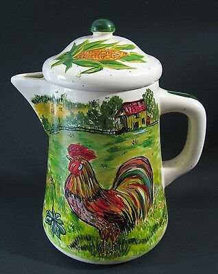 Vtg Rooster Hand Painted Coffee Pot McCoy Pottery Watt Artist Betty Ford Signed