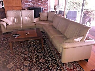 EKORNES RECLINING LEATHER Sectional Sofa with storage ...