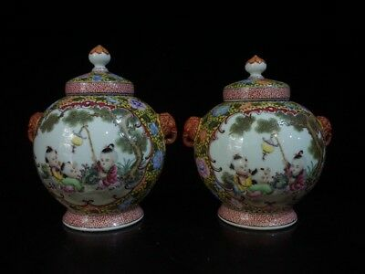 Chinese Exquisite Handmade Children play pattern porcelain Tea caddy a pair
