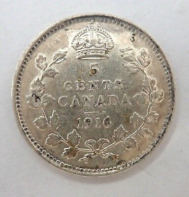 Canada  1916  Five Cent Silver Coin  -  Eight Pearls