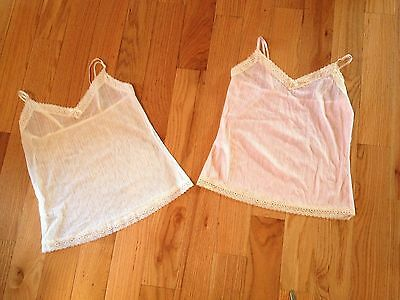 Affinitas Intimates Pink or Ivory Lace Trim Sheer Striped Cami Camisole Sz S