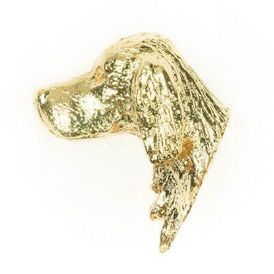 GORDON SETTER Made in UK Art Style Dog Clutch Lapel Pin 22ct G Plate