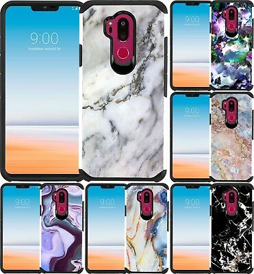 For LG G7 Thinq / G710 Marble Design Hybrid Armor Case Dual Layers Cover