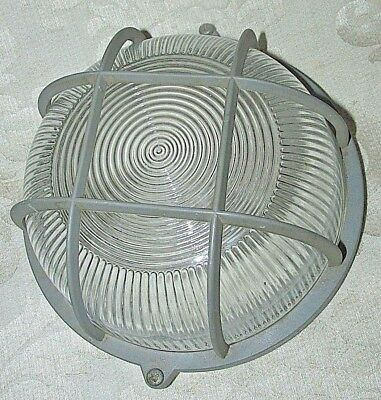 Vintage Protective Resin Light Cover / Glass Ribbed Insert SteamPunk Industrial
