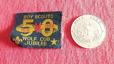 Vintage Boy Scouts 1916 - 1966 Wolf Cub Jubilee Cloth Badge Patch & a Medallion