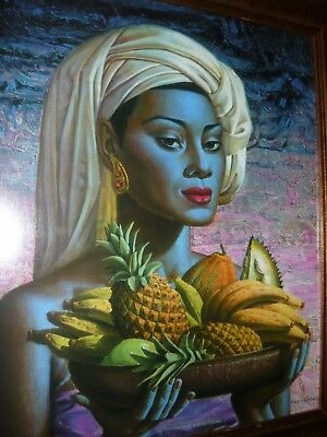 Tretchikoff Balinese Lady With Fruit New Print Retro Vintage Frame