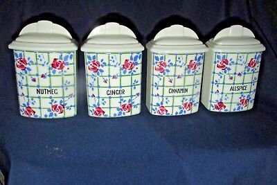 Antique Art Deco Era 4x. ELLY Spice Canisters Jars Czech Ceramic Country Roses