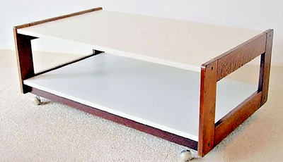 Table Basse Rectangulaire Design Melamine Blanc Et Wenge 1980