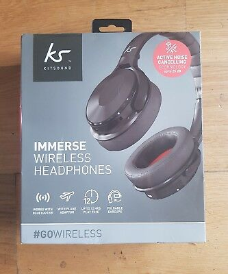 bc749950b2d KitSound Immerse Wireless Bluetooth Headphones with Noise Cancelling Black