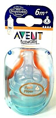 2 Pack Philips Avent Naturally Disposable System Fast Flow Nipples 6m+ Nursing