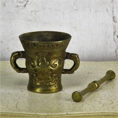 Gothic Antique Vintage Brass Mortar and Pestle Ornate Phoenix Shield Apothecary