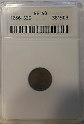 1856 3CS Three Cent Silver ANACS EF 40