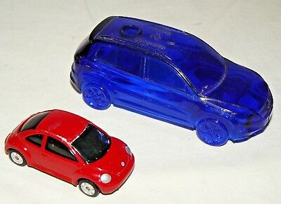 2 Rare Volkswagen Toy Cars - Vw Recycling Promo & Maisto Red New Beetle - Bug