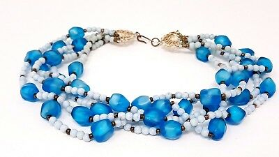 """Vintage Blue Glass Western Germany Beaded Necklace 14"""""""