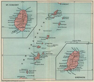 ST VINCENT, GRENADA & THE GRENADINES. Lesser Antilles. West Indies 1927 map