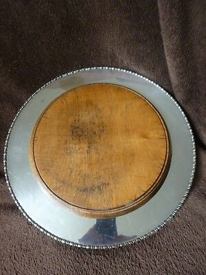Silverplated Vintage  Bread Board With Wood Centre
