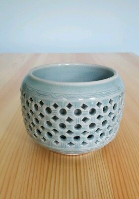 Vintage Korean Celadon Pottery Green Double Walled Reticulated Tea Cup Signed