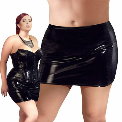 "Sexy Lack Minirock L XL 2XL 3XL 4XL Rock Vinyl skirt Zip Glanz Stretch ""Manina"""