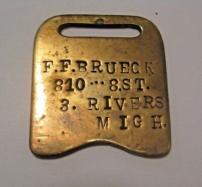 Vintage F.f. Brueck Three Rivers Michigan Railroad Mining Key / Watch Brass Fob